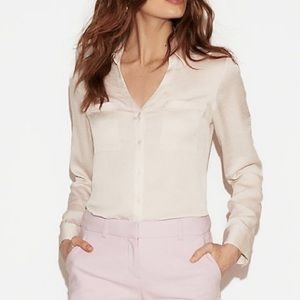 Express Petite Slim Fit Satin Portofino Shirt